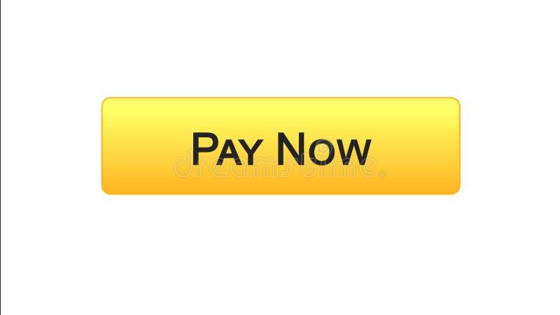Paghi ora a bottone dell'interfaccia di web il colore arancio, il servizio bancario online, acquisto royalty illustrazione gratis