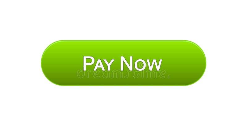 Paghi ora a bottone dell'interfaccia di web il colore verde, il servizio bancario online, acquisto royalty illustrazione gratis