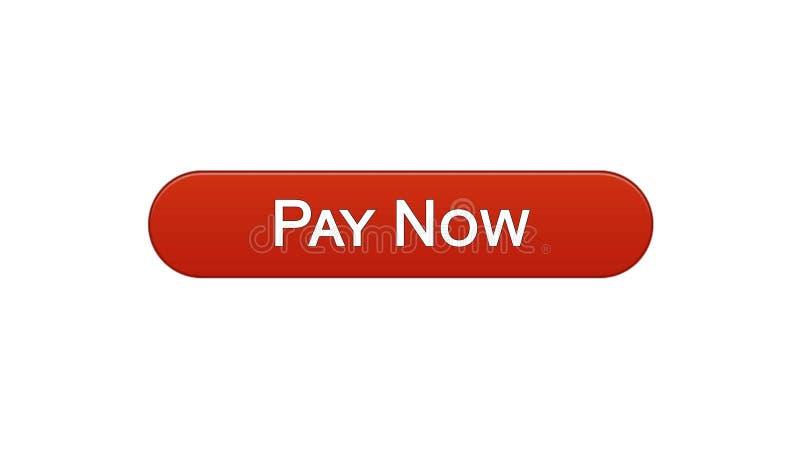 Paghi ora a vino del bottone dell'interfaccia di web il colore rosso, il servizio bancario online, acquisto illustrazione vettoriale
