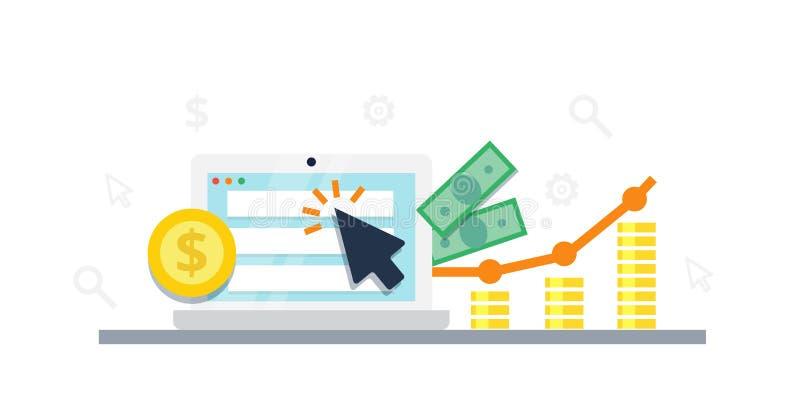 Paghi per concetto di vendita di Internet di clic - illustrazione piana Pubblicità e conversione del PPC illustrazione vettoriale