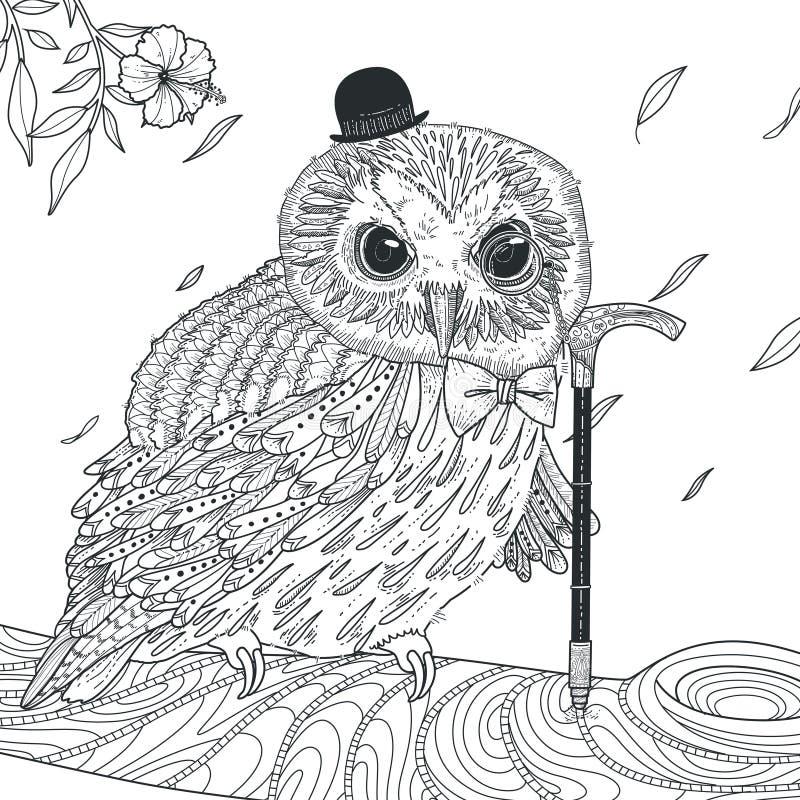 Pagina adorabile di coloritura del gufo illustrazione vettoriale