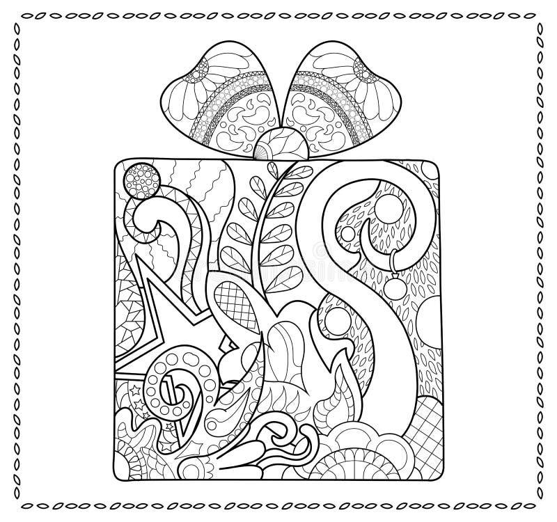 Pagina adulta di coloritura del regalo di Natale Nuovo anno presente per colorare illustrazione di stock