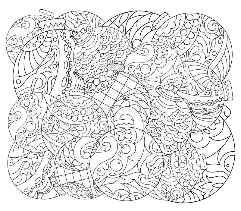 Pagina adulta di coloritura dell'ornamento dell'albero di Natale Pagina di coloritura di vettore con l'ornamento dell'albero di a illustrazione di stock