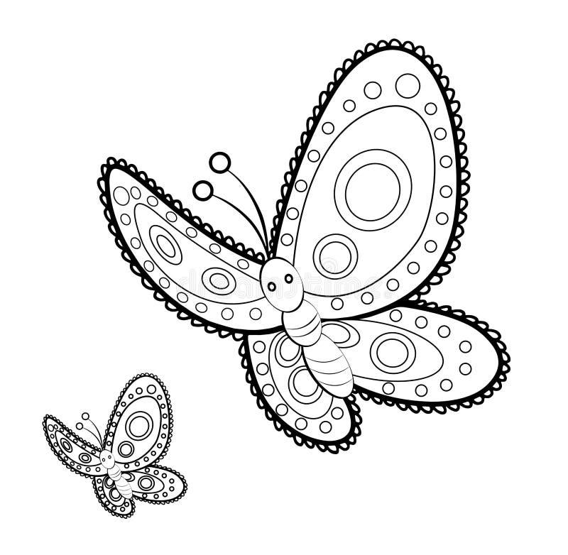 Pagina adulta di coloritura di sforzo della mandala della farfalla anti illustrazione di stock