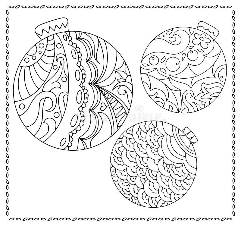 Pagina adulta o teenager di coloritura con l'illustrazione di scarabocchio del nuovo anno o di Natale royalty illustrazione gratis