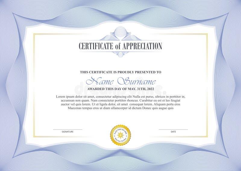 Pagina alla moda del certificato con progettazione del confine della rabescatura royalty illustrazione gratis