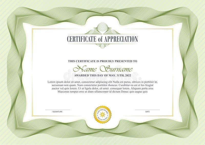 Pagina alla moda del certificato con progettazione del confine della rabescatura illustrazione vettoriale
