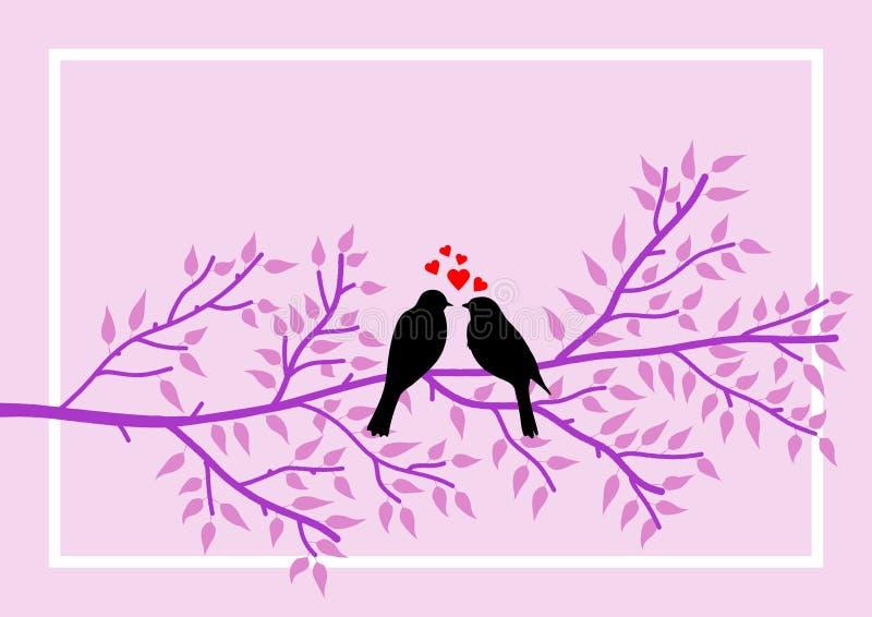 Pagina allusiva al tema del San Valentino con il simbolismo di due uccelli sul ramo di albero Illustrazione illustrazione vettoriale