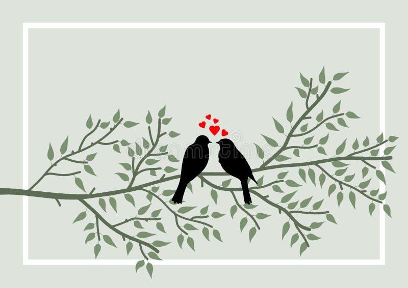 Pagina allusiva al tema del San Valentino con il simbolismo di due uccelli sul ramo di albero Illustrazione illustrazione di stock