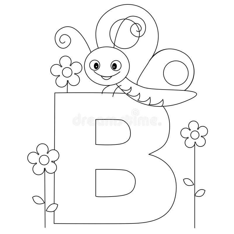 Pagina animale di coloritura di alfabeto B illustrazione vettoriale