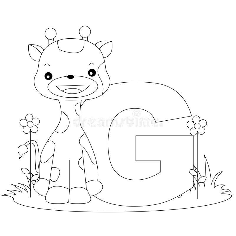 Pagina animale di coloritura di G di alfabeto illustrazione di stock