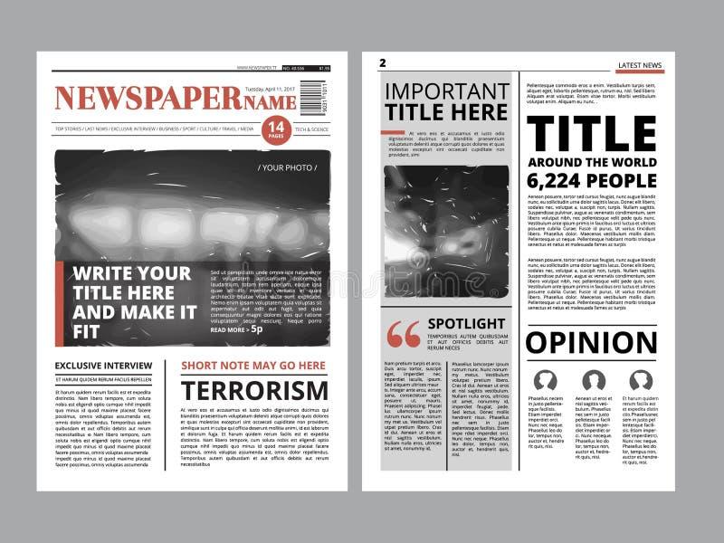 Pagina anteriore del giornale con parecchie colonne e foto Copertura di rivista di vettore Progetto di progettazione della dispos illustrazione vettoriale