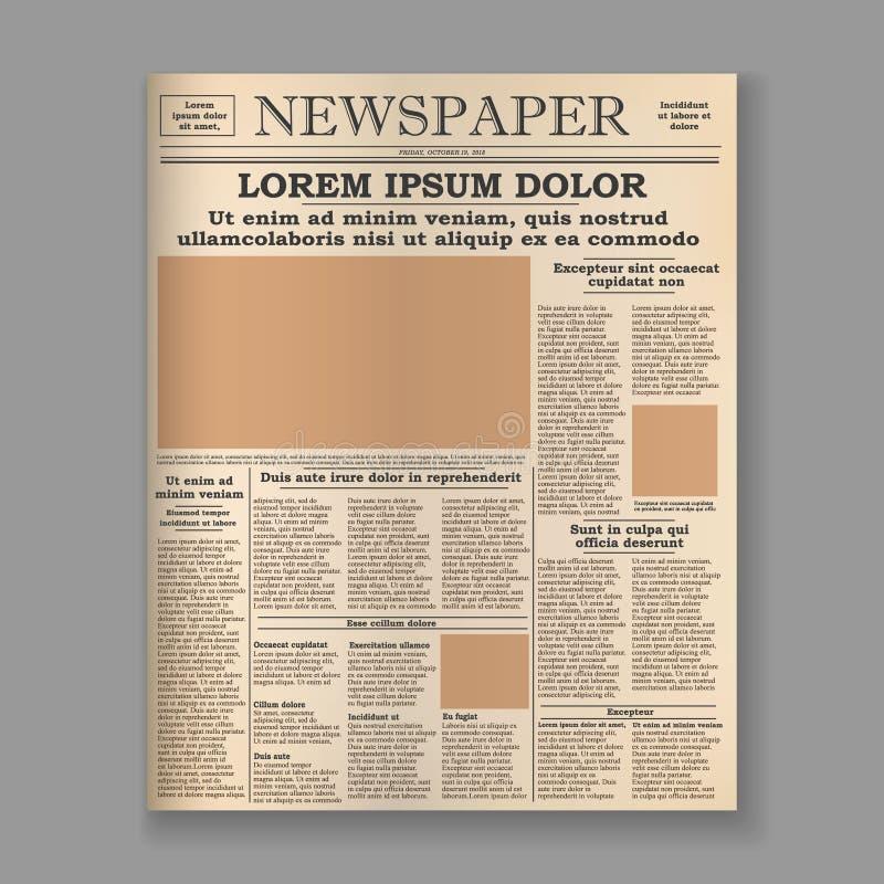 pagina anteriore del vecchio giornale illustrazione di stock