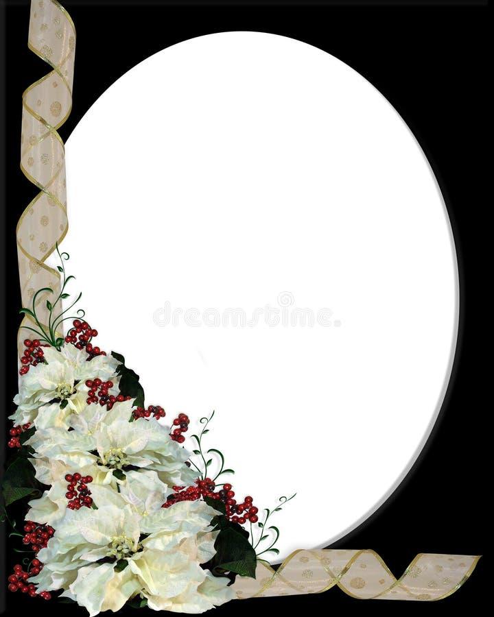 Pagina bianca del Poinsettia di natale sul nero illustrazione vettoriale