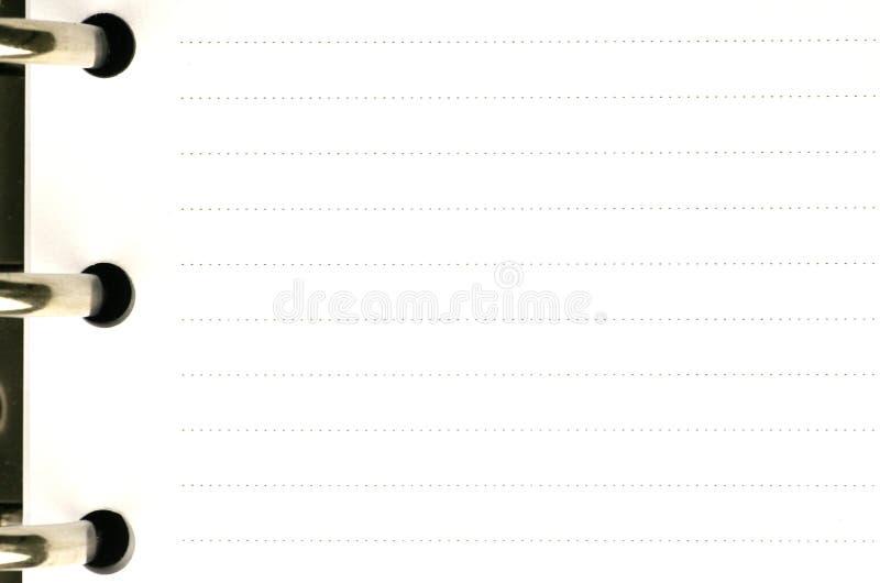 Pagina in bianco di un ordine del giorno fotografie stock libere da diritti