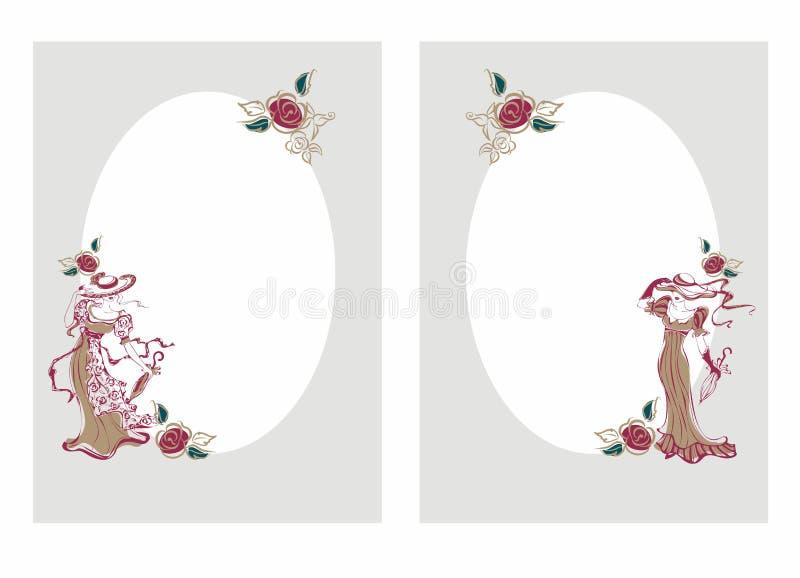 Pagina, cartolina Ragazze d'annata in cappelli con gli ombrelli La struttura ovale Cartolina d'auguri alle congratulazioni Vettor royalty illustrazione gratis