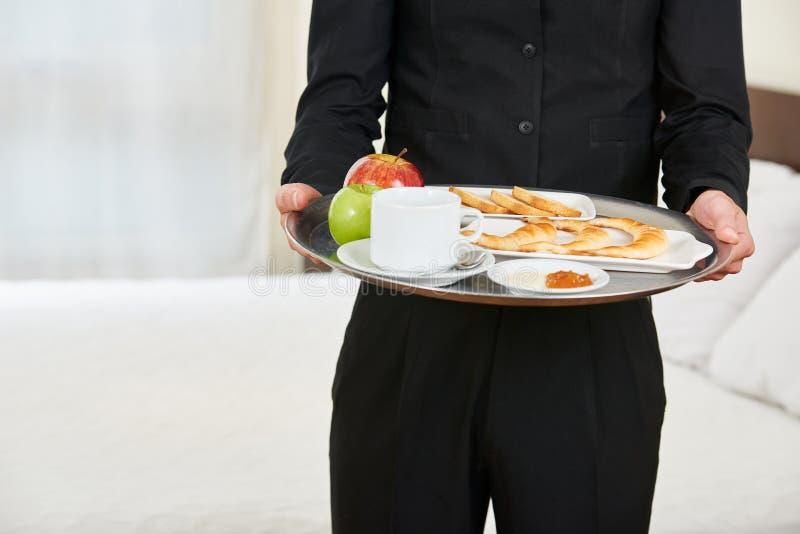 Pagina che serve prima colazione sana alla camera di albergo immagini stock libere da diritti