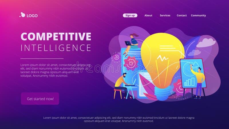 Pagina competitiva di atterraggio di concetto di intelligenza royalty illustrazione gratis