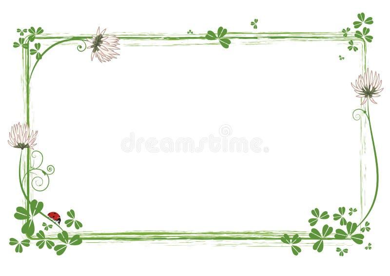 Pagina con i fiori del trifoglio e della coccinella royalty illustrazione gratis
