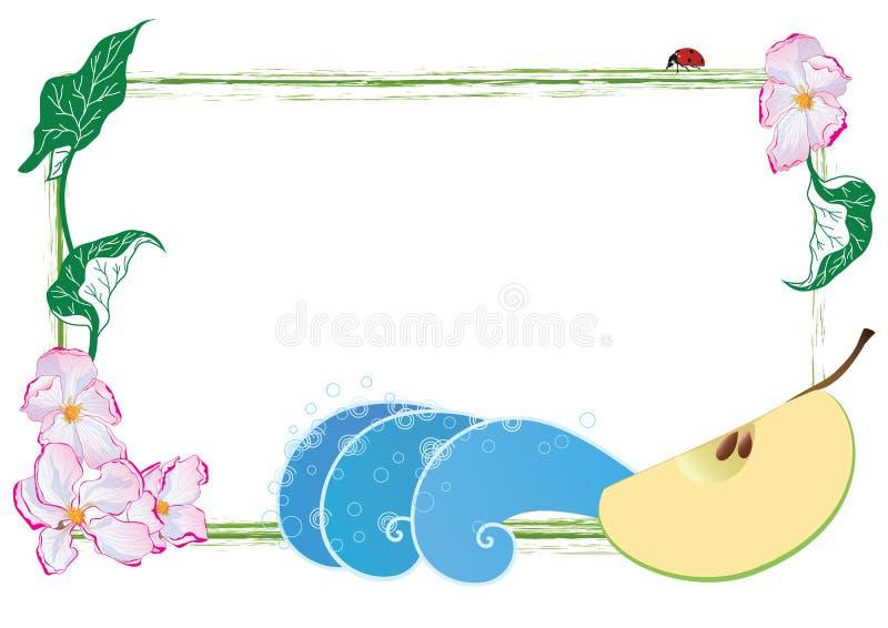 Pagina con i fiori della mela, la frutta della mela e la coccinella illustrazione vettoriale