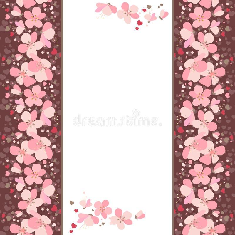 Pagina con i fiori dentellare della ciliegia illustrazione di stock