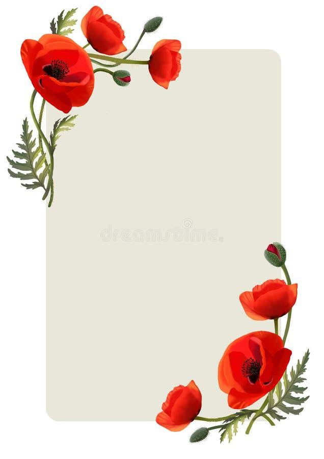 Pagina con i fiori Papaveri rossi Cartolina d'auguri illustrazione di stock