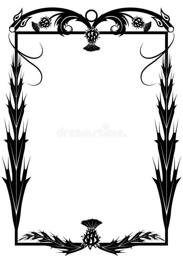 Pagina con il cardo selvatico ed i draghi illustrazione vettoriale