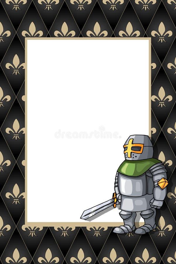 Pagina con il cavaliere coraggioso con la spada sui precedenti medievali royalty illustrazione gratis