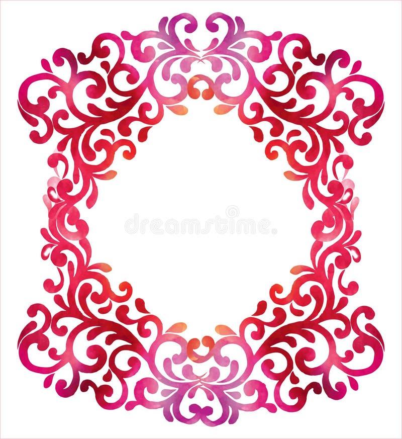 Pagina con il fondo floreale ornamentale dell'acquerello Illust di vettore illustrazione di stock