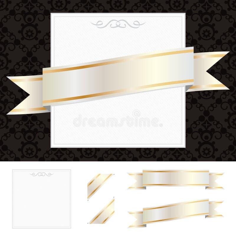 Pagina con il nastro dell'oro illustrazione vettoriale
