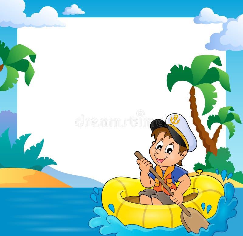 Pagina con il piccolo marinaio in barca illustrazione di stock