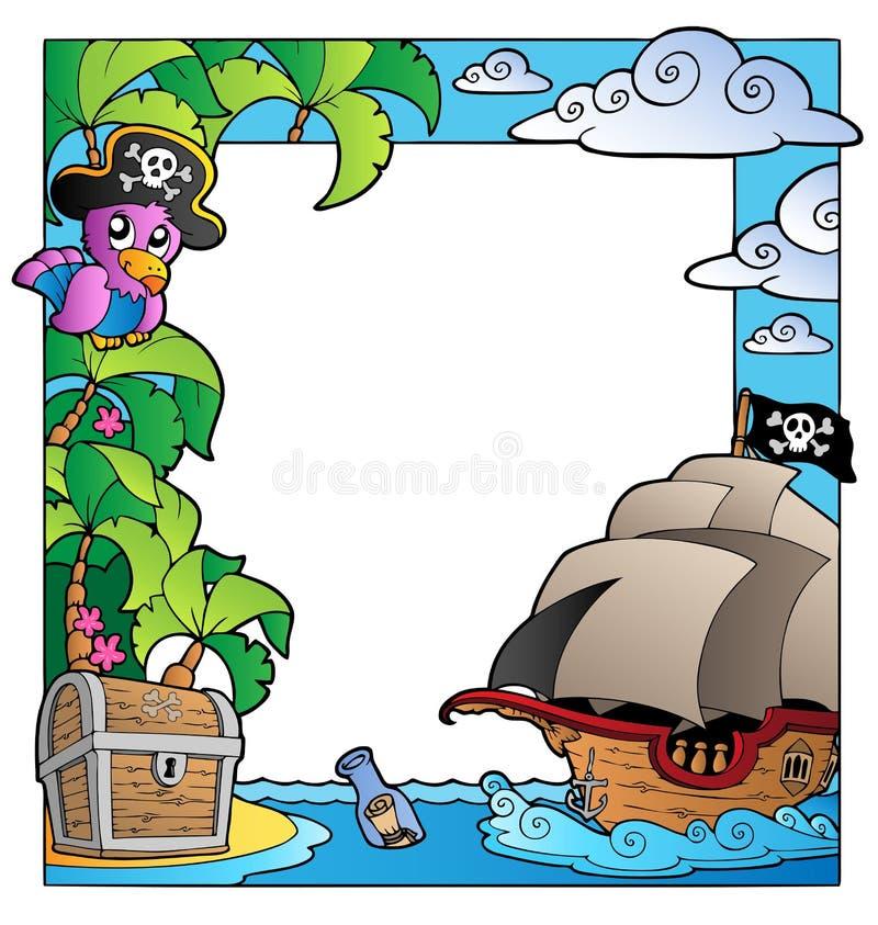 Pagina con il tema 1 del pirata e del mare illustrazione vettoriale