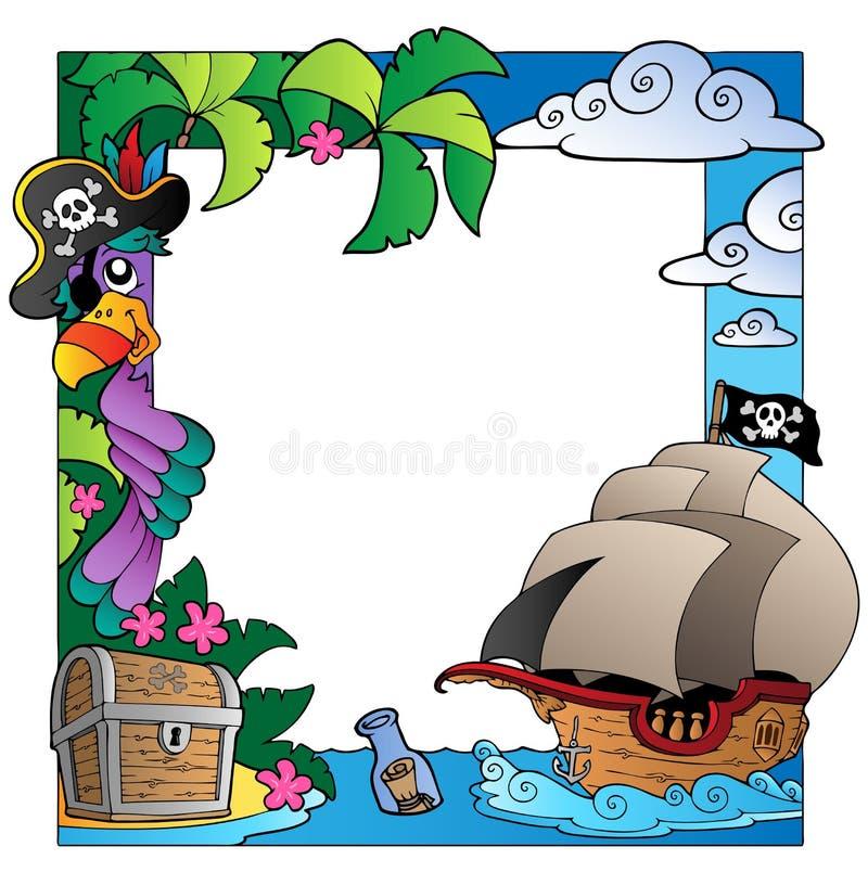 Pagina con il tema 4 del pirata e del mare illustrazione vettoriale