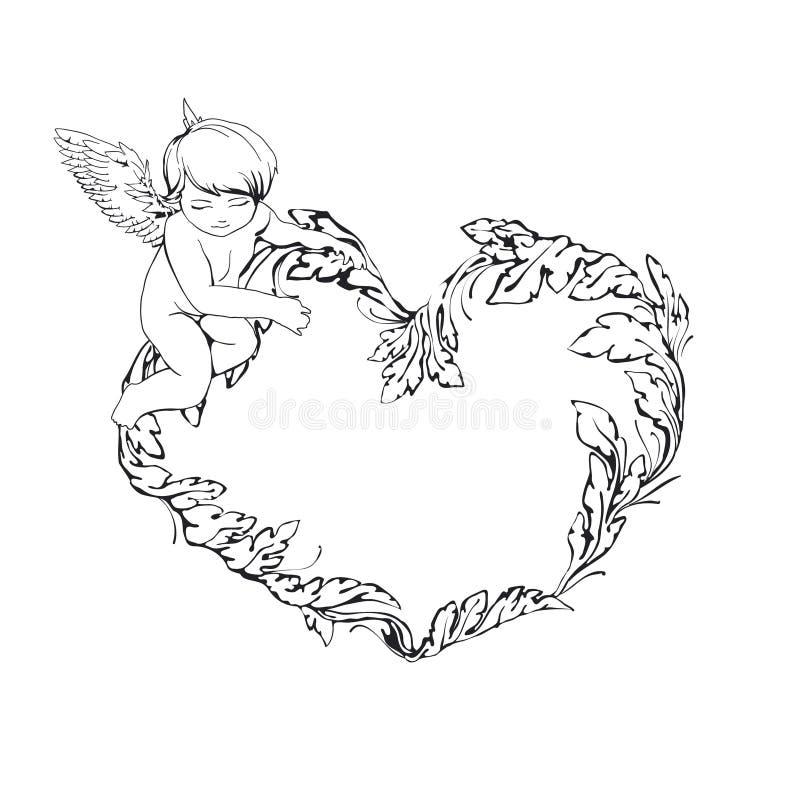 Pagina con l'angelo ed il cuore illustrazione di stock