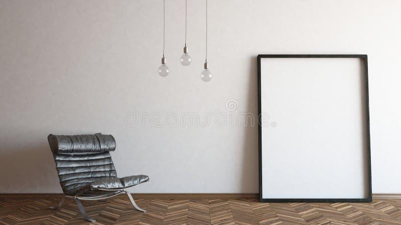Pagina con la sedia e le lampadine fotografia stock libera da diritti