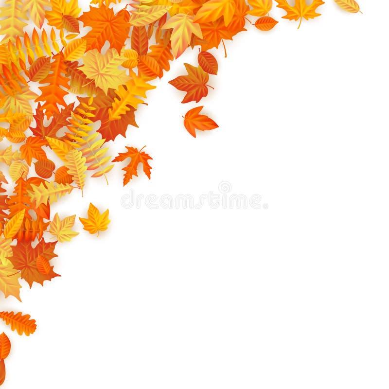 Pagina con le foglie di autunno di caduta rosse, arancio, marroni e gialle ENV 10 illustrazione vettoriale