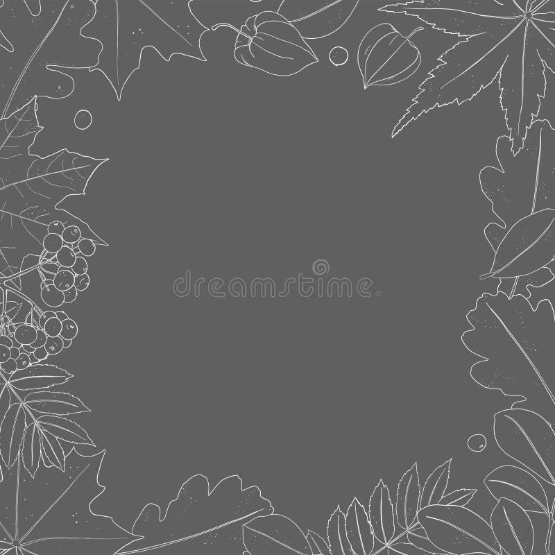 Pagina con le foglie di autunno Siluette bianche su un fondo giallo royalty illustrazione gratis