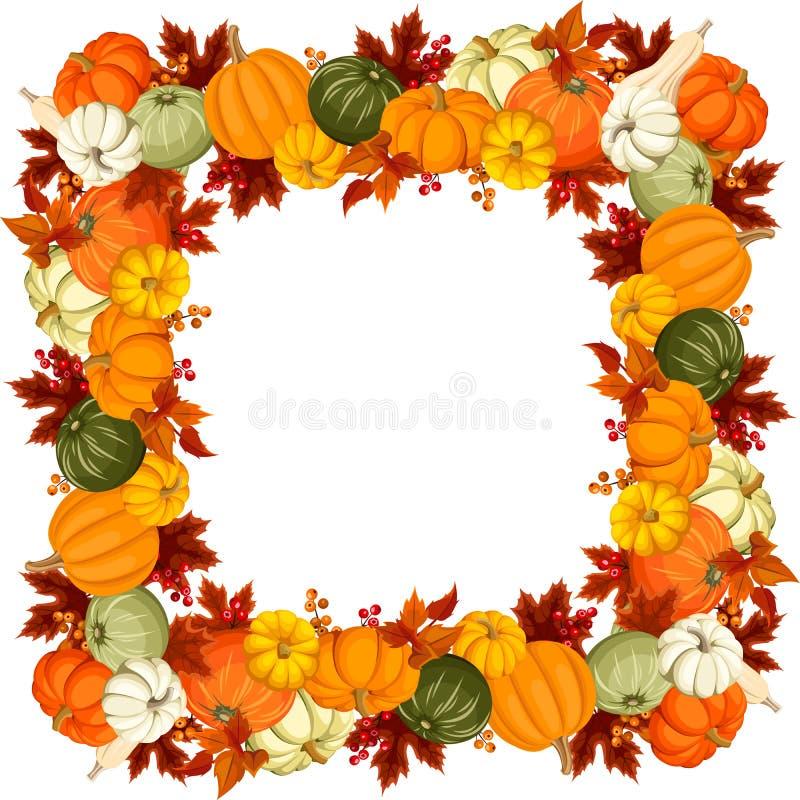 Pagina con le zucche e le foglie di autunno Illustrazione di vettore royalty illustrazione gratis