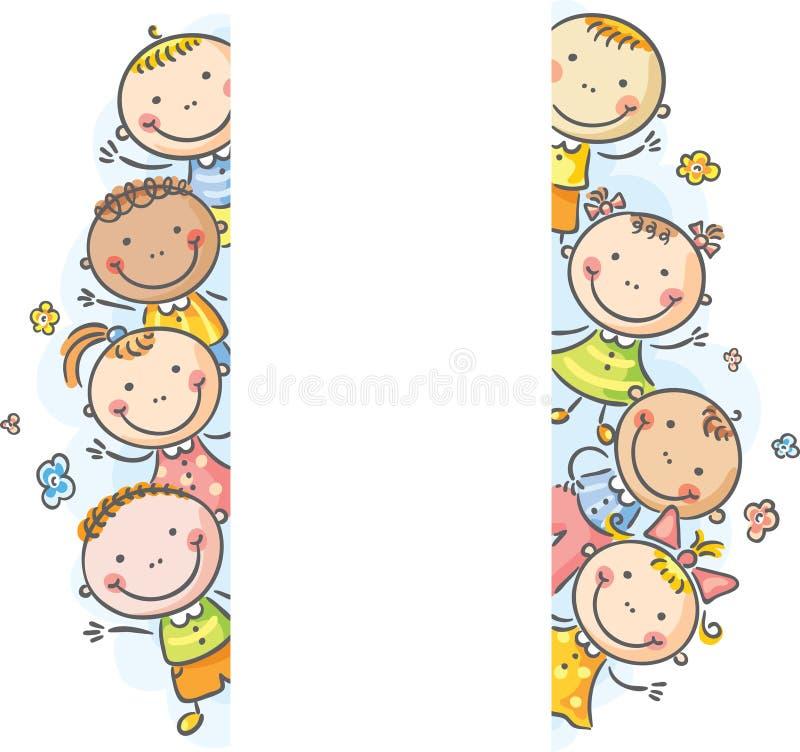 Pagina/confini con i bambini che sbirciano fuori illustrazione vettoriale