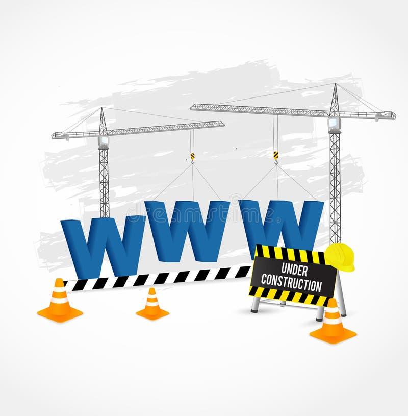 Pagina in costruzione con le lettere blu di WWW illustrazione vettoriale