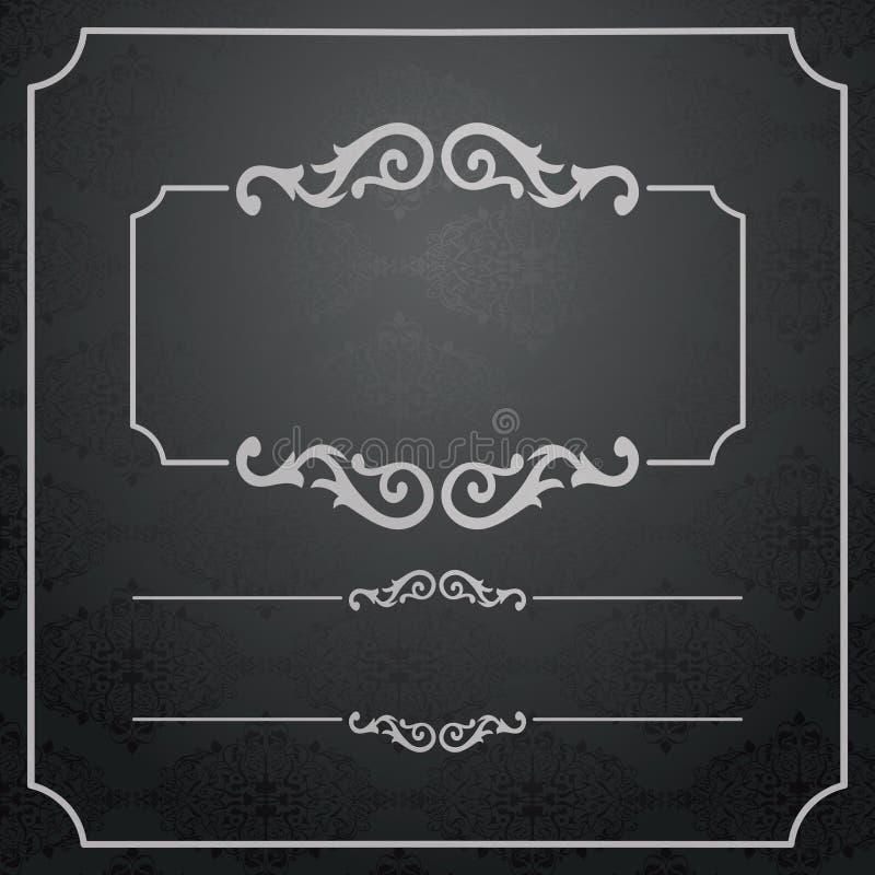 Pagina d'annata con il modello del pizzo del damasco. illustrazione di stock