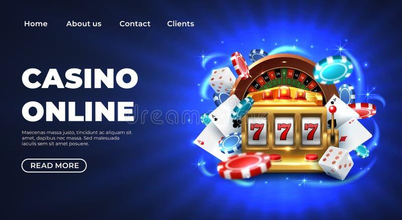 Pagina d'atterraggio del casinò Premio fortunato di gioco del sito Web delle roulette grande, slot machine realistico dell'illust royalty illustrazione gratis