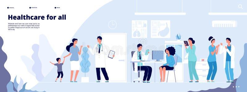 Pagina d'atterraggio medica Clinici online consultano diversi medici concetto di vettore di sanit? illustrazione di stock