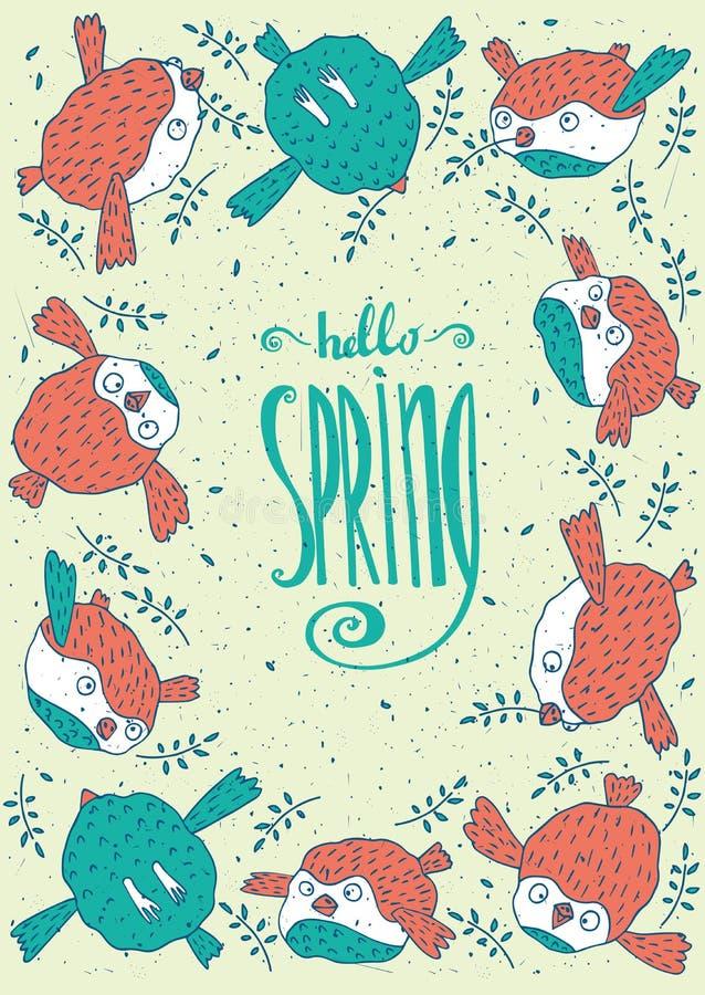 Pagina dagli uccelli con ciao la primavera illustrazione - Primavera uccelli primavera colorazione pagine ...