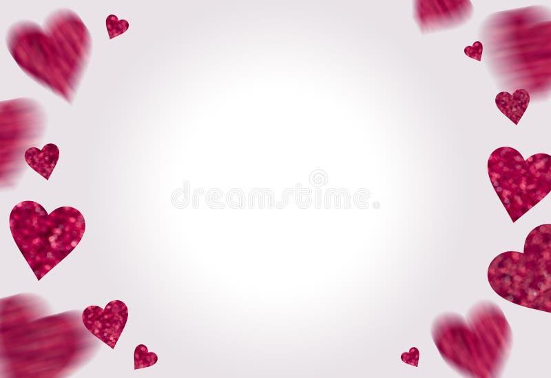 Pagina dai cuori rosa su fondo bianco fotografie stock libere da diritti