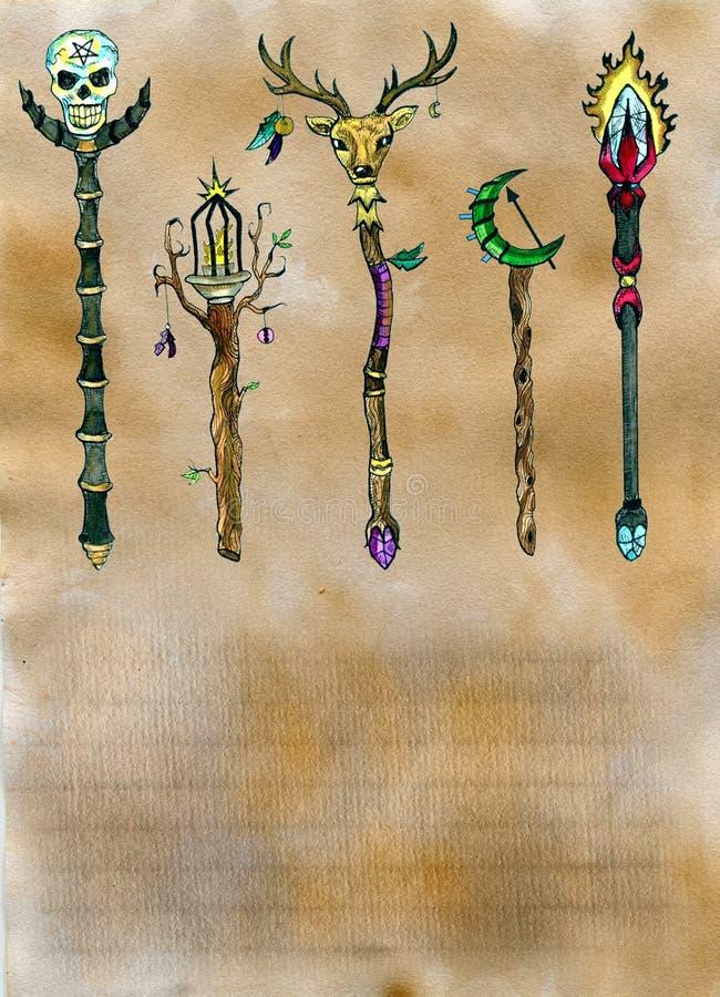 Pagina dal vecchio libro magico con le bacchette e lo spazio della copia illustrazione di stock