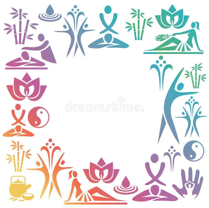 Pagina decorativa variopinta di massaggio della stazione termale illustrazione vettoriale