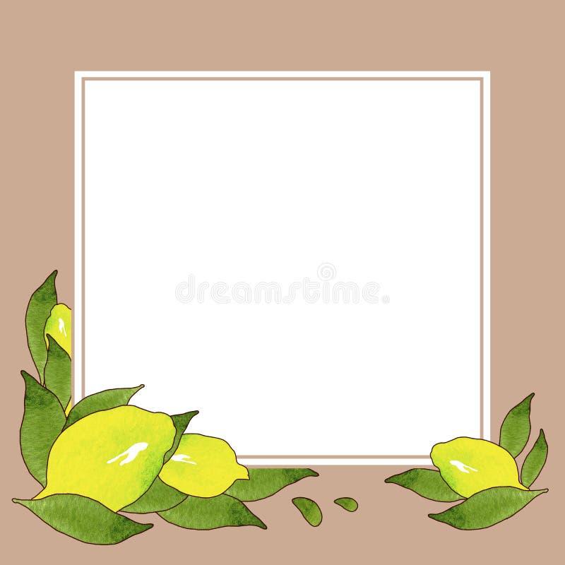 Pagina dei frutti gialli del limone con le foglie verdi isolate su fondo bianco e beige nel bello stile Illustrazione Handmade royalty illustrazione gratis