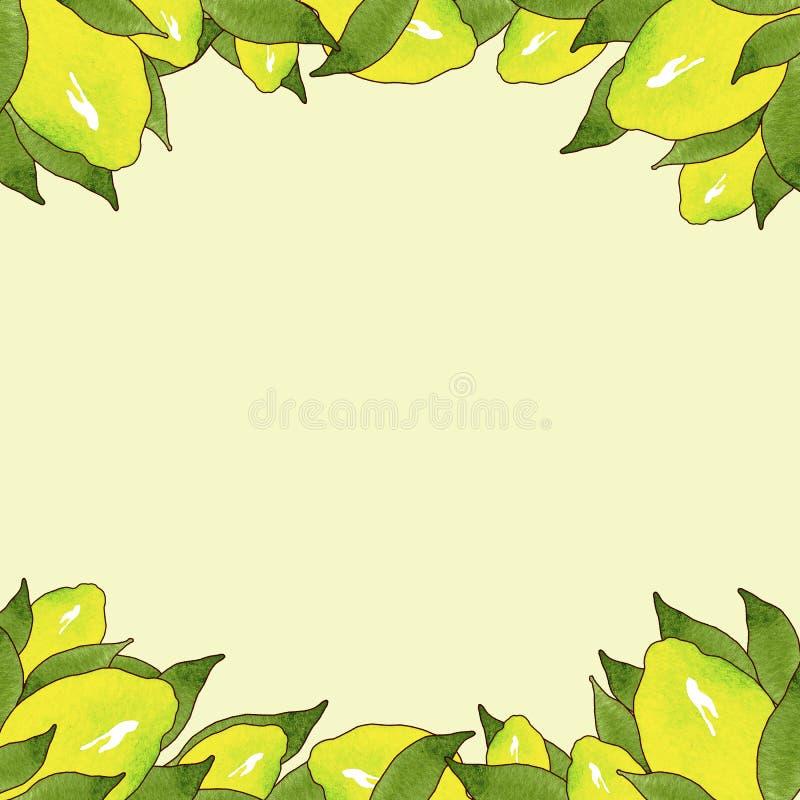 Pagina dei frutti gialli del limone con le foglie verdi isolate su fondo giallo nel bello stile Illustrazione Handmade illustrazione di stock