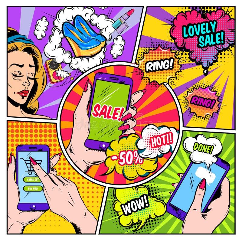 Pagina dei fumetti di commercio elettronico illustrazione vettoriale
